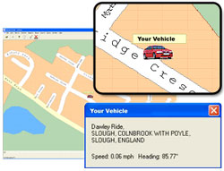 Click on the vehicle icon on screen to obtain its location.